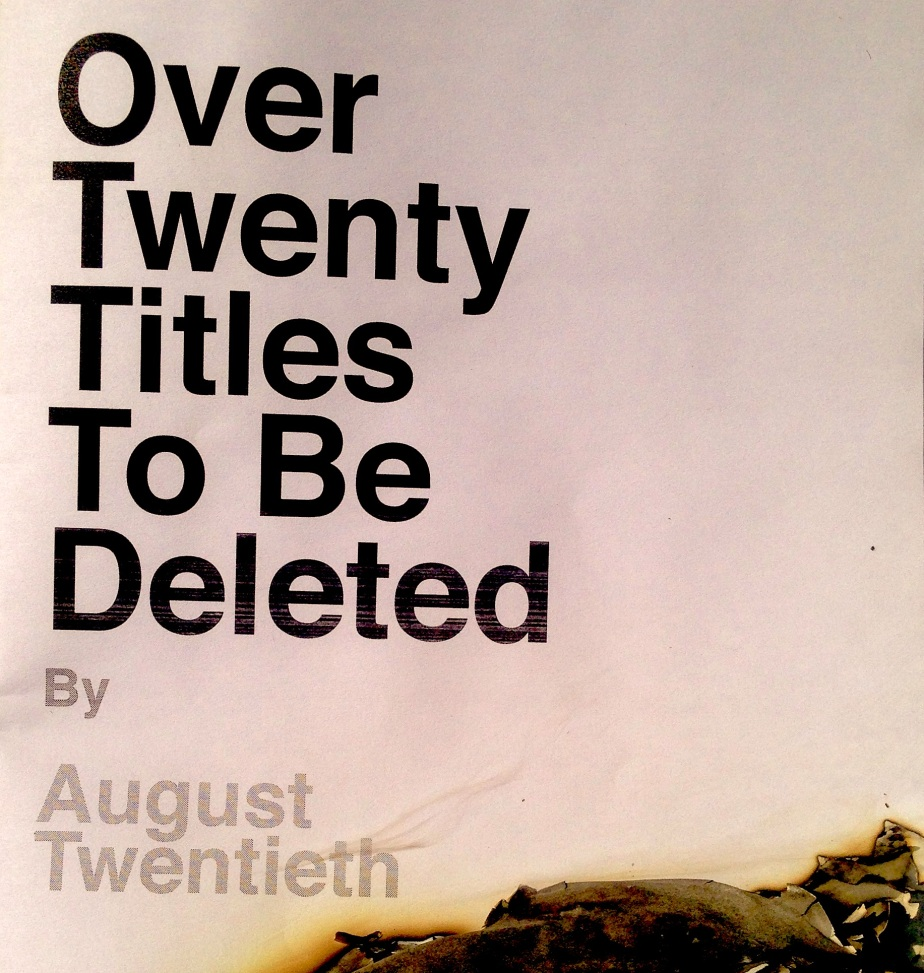 Twenty Titles To Be Deleted By August Twentieth